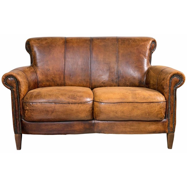 Vintage French Distressed Art Deco Leather Sofa - Image 1 of 9
