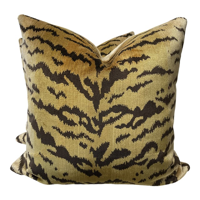 """Scalamandre """"Tiger"""" Brown on Gold"""" Velvet 22"""" Pillows-A Pair For Sale"""