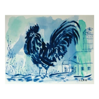 Blue Rooster Painting by Cleo For Sale