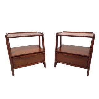 Pair of Vintage Modern Mahogany Nightstands by Pioneer For Sale