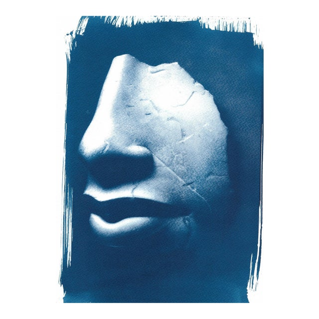 Limited Edition, Ancient Egyptian Nose and Mouth Sculpture, Cyanotype Print on Watercolor Paper For Sale
