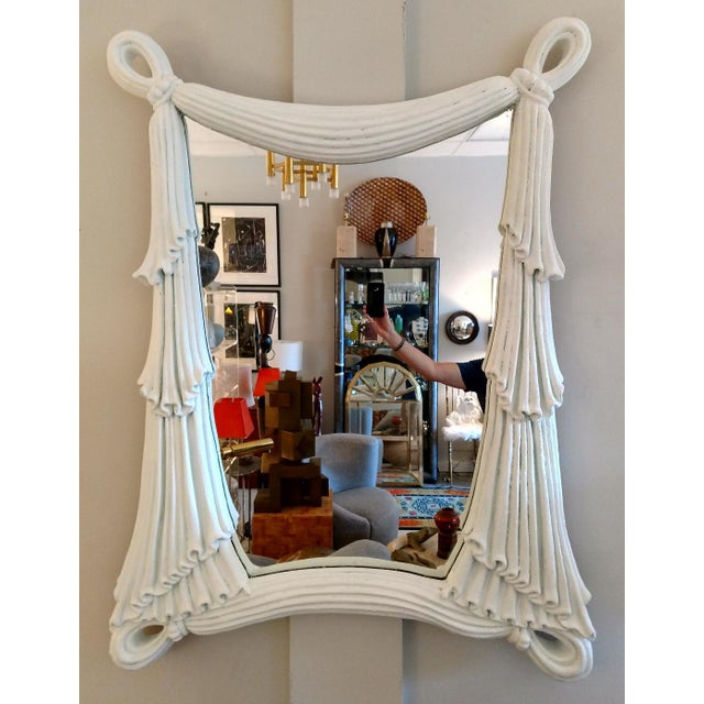 1980's Drapery Styled Framed Mirror, Vintage For Sale - Image 9 of 9