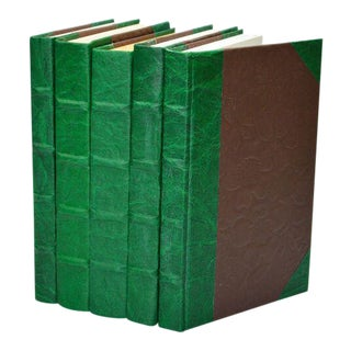 Leather Texture Parchment Green Books - Set of 5 For Sale