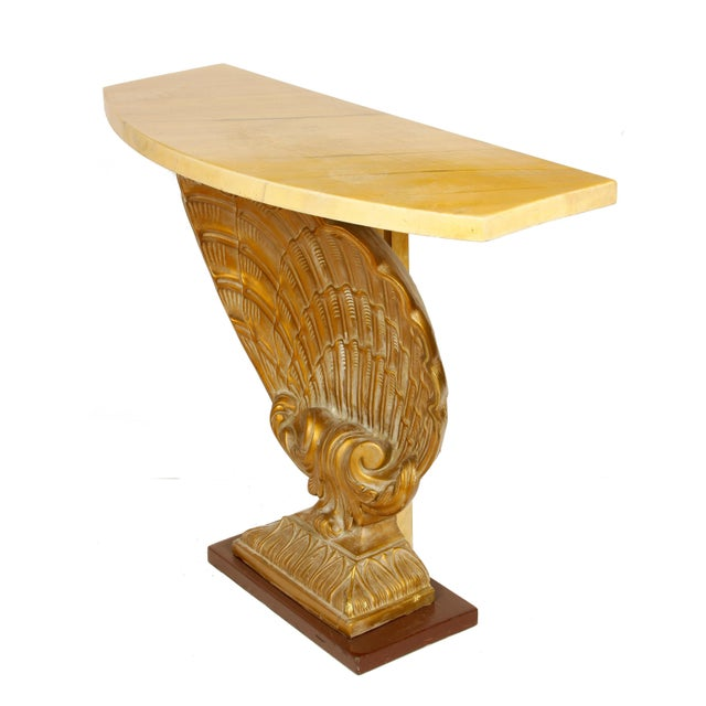 Grosvenor House Vintage Shell Console with Faux Marble Top For Sale - Image 4 of 5