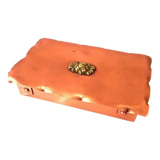 Hand-Hammered Copperware Box With Bronze Flower Motif by Drumgold For Sale
