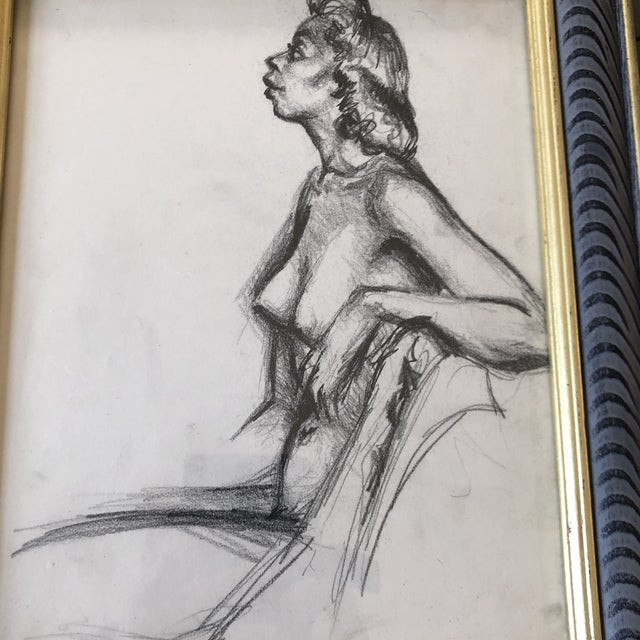 Original charcoal drawing on paper unsigned sketch 8 x 10 overall size with vintage frame is 10.5 x 12.5 can be hung or...