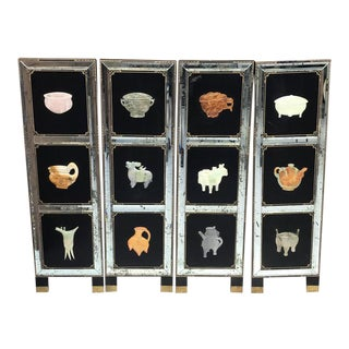 Four Panel Hardstone and Mirrored Screen For Sale
