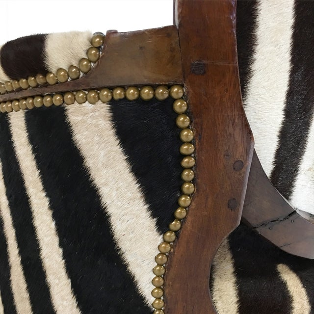 Louis XVI Style Walnut Bergere in Zebra Hide - Image 6 of 7