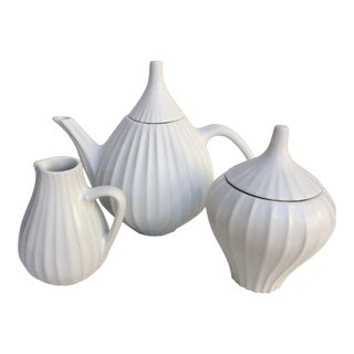 Jonathan Adler Pot Au Porter Line White Tea Set - S/3 For Sale