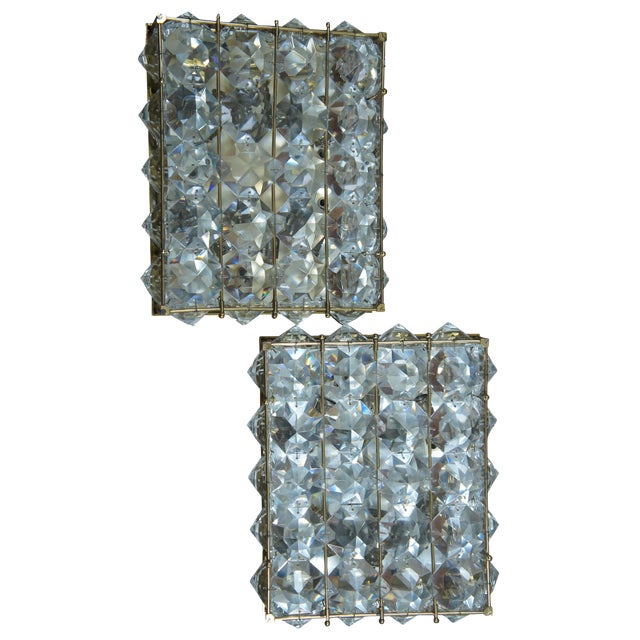 Mid Century Cut Crystal Flush Mounts- A Pair For Sale