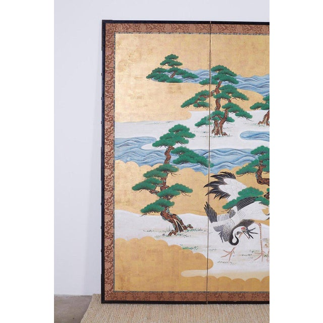 Asian Japanese Six Panel Screen of Cranes by the Sea For Sale - Image 3 of 13