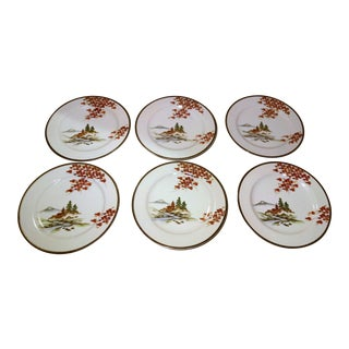 Hand Painted Japanese Kuntani Porcelain Plates - Set of 6