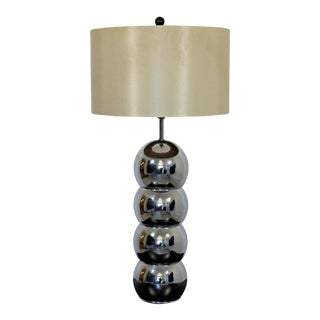 1970s George Kovacs Mid-Century Modern Stacked Chrome Ball Table Lamp For Sale