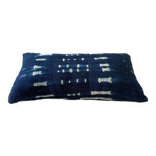 "Old Indigo Bondoukou Cloth Textile Lumbar Pillow I Coast 18.25"" W For Sale"