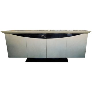 Vintage Modern 1980s Lacquer Off White and Black Sideboard or Credenza For Sale
