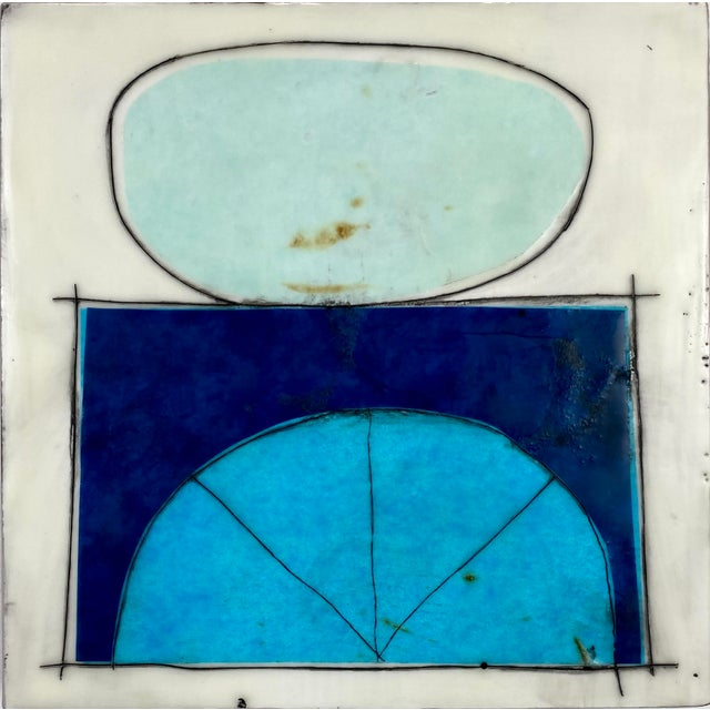 """Blue """"Elsewhere"""" Original Encaustic Collage Installation by Gina Cochran - Blue and Teal - 16 Panels For Sale - Image 8 of 13"""