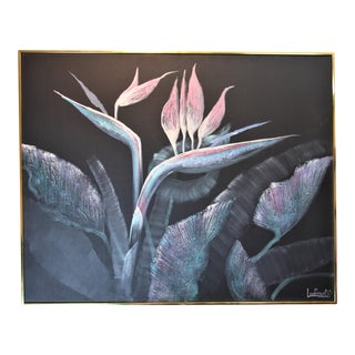 """Vintage """"Bird of Paradise"""" Framed Oil Painting by Lee Reynolds For Sale"""