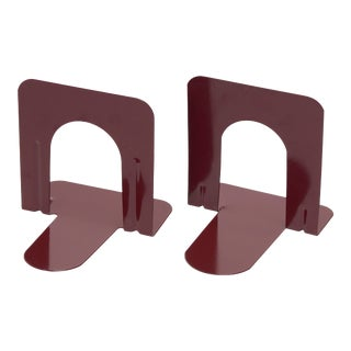 Mid Century Library Bookends Refinished in Wine Red For Sale