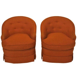 Pair of Burnt Umber Button Tufted Wool Swivel Chairs For Sale