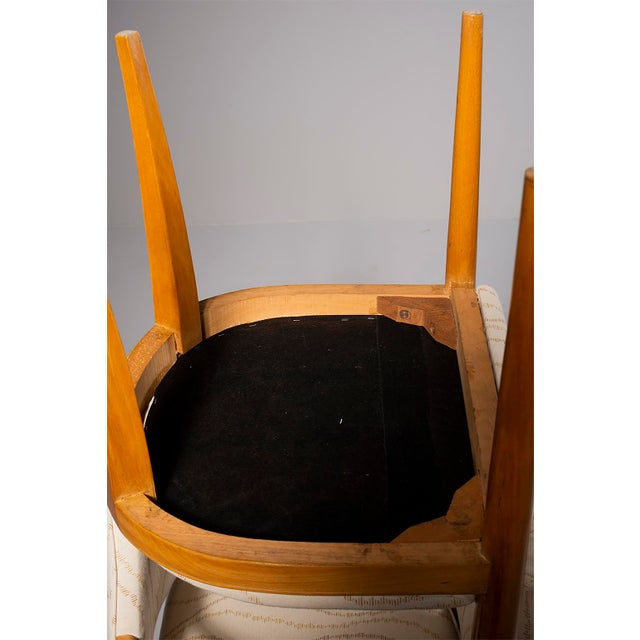 Pair French Bridge Chairs With Beech Frames and New Upholstery For Sale - Image 9 of 10