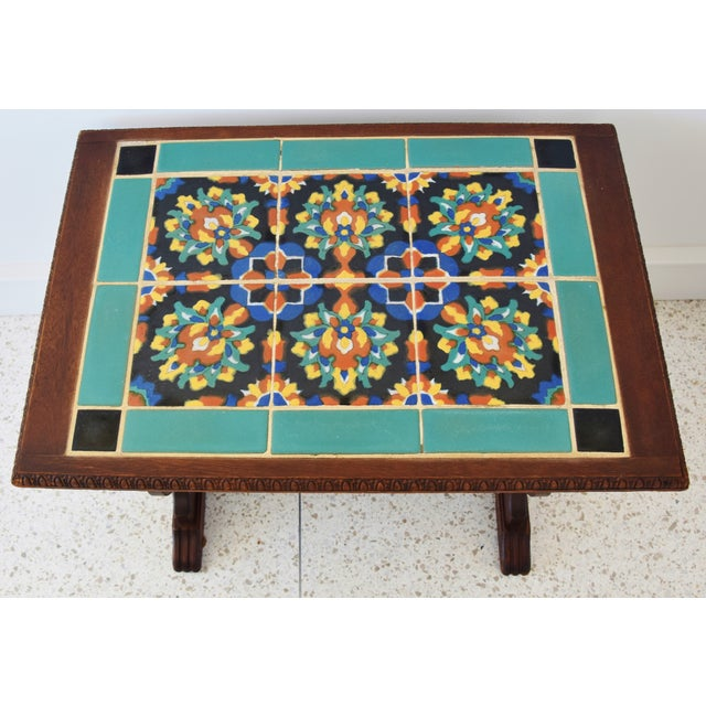 Abstract 1940s California Mission Tile Oak Accent Coffee Table For Sale - Image 3 of 13