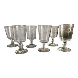 1820 French Country Etched Wine Glasses - Set of 6 For Sale