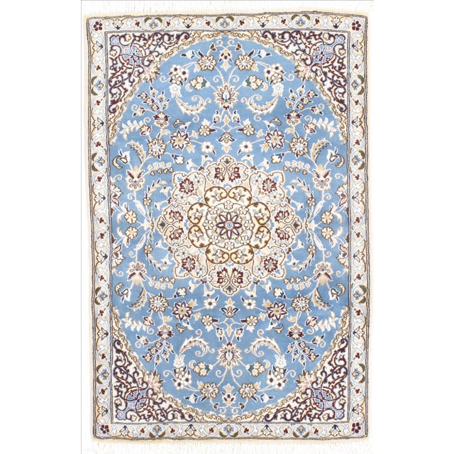 "Persian Nain Silk & Wool Rug - 2'10"" x 4'5"" For Sale"