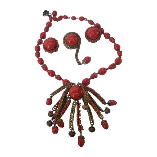 Miriam Haskell Crimson Glass Beaded Necklace, Brooch, and Earrings. 1960's. For Sale