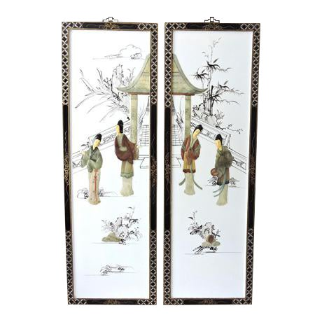 The Jade Pavillion Chinese Wall Panels - a Pair - Image 1 of 4