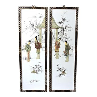 The Jade Pavillion White Lacquer Chinese Wall Panels - a Pair For Sale
