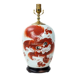 19th Century Chinese Ginger Vase Lamp With Foo Dogs and Poem For Sale