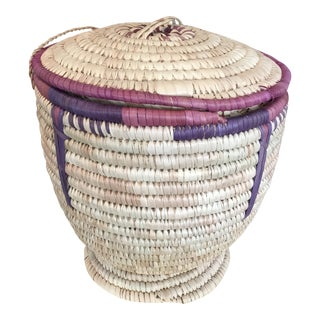 Hand Woven Basket With Lid For Sale