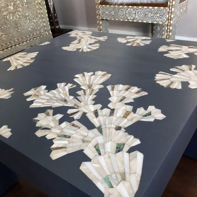 Modern Blue Coffee Table With Mother of Pearl Inlay For Sale In Los Angeles - Image 6 of 12