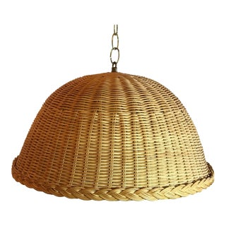 Vintage Wicker Swag Hanging Lamp For Sale