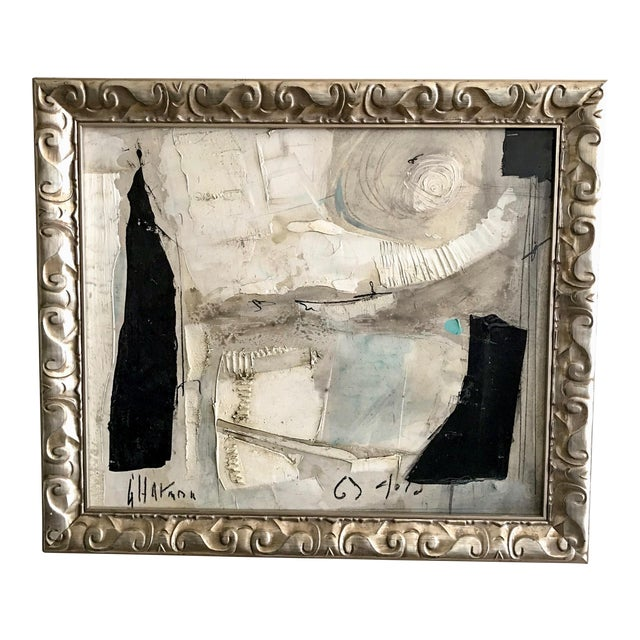 1960's Contemporary Black & White Abstract Painting by Graham Harmon For Sale