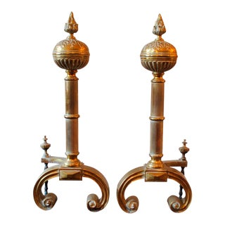 Early 1900's English Brass Andirons - A Pair