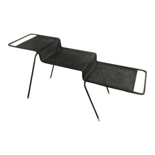 Mathieu Mategot Coffee Table in Black Painted Iron and Rigitule For Sale