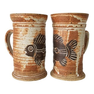 1990s Vintage Handmade Fish Motif Art Pottery Mugs - a Pair, Signed For Sale