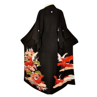 Japanese Silk Kimono Black Kuro For Sale
