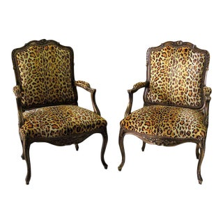 Louis XV Style Walnut Leopard Fauteuils - A Pair
