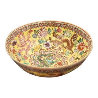 Late 19th Century Chinese Famille Jaune Eggshell Porcelain Rice Bowl For Sale