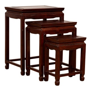 Vintage Chinese Rosewood Nesting Tables with Dark Patina - Set of 3 For Sale