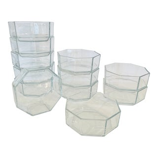 French Arcoroc Clear Octagonal Dessert Bowls - Set of 12 For Sale