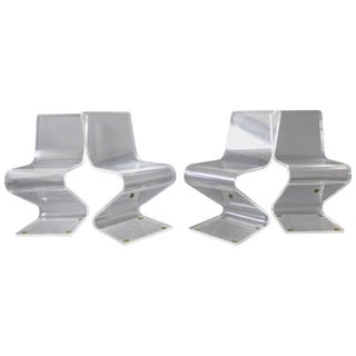 Mid-Century Modern Set of Four Lucite Z Zig Zag Chairs Hollis Jones Style, 1970s