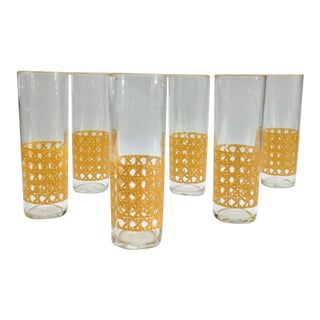 1970s Mid-Century Modern Cane Wicker Pattern Tom Collins Glasses - Set of 6