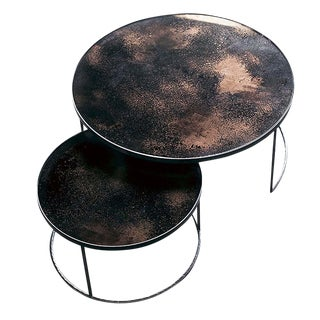 Bronze Copper Distressed Glass Mirror Round Nesting Coffee Table Set - 2 Pieces For Sale