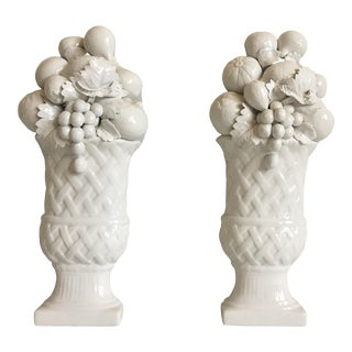 1950s Italian Trompe l'Oeil Wall Urns - a Pair For Sale