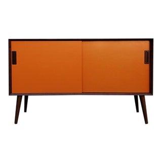 Mid-Century Modern Walnut Orange Front Sliding Door Credenza For Sale
