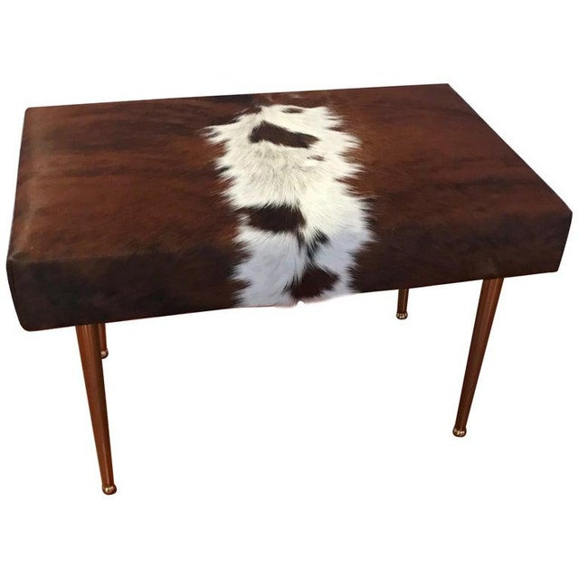 Modern Cow Hide Upholstered Bench With Brass Legs For Sale - Image 13 of 13