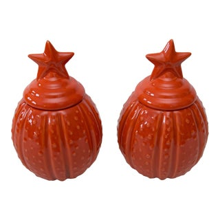 Vintage Lidded Autumn Pumpkin Jars, a Pair